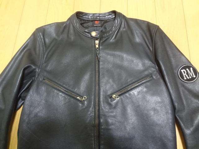 REDMOON レッドムーン 初期 ホースハイド 逆ハ シングル ライダースジャケット Mサイズ 馬革 竜商会 ブラック_画像4