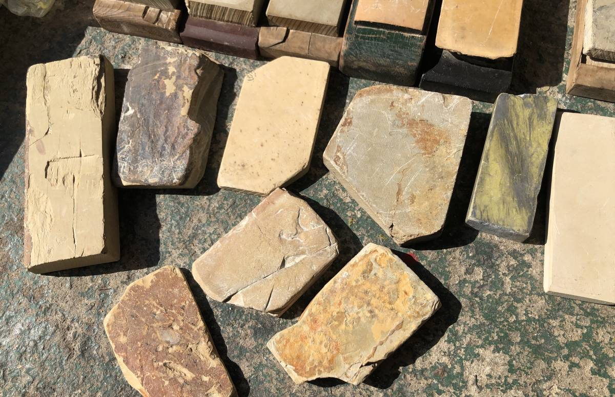 ②古い理容室 砥石 砥石台 大量セット レトロ_画像7