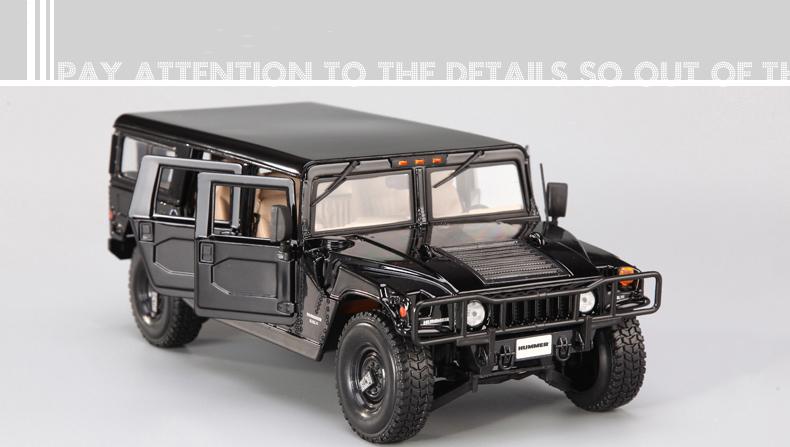人気合金模型車ミニカーコレクシ1:18ハマーH 1オフロードカー合金自動車スケールブラック新品_画像6