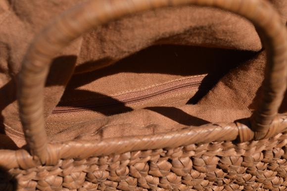 山葡萄手提げ籠バッグ | 高級六角花結び編み | (約)幅32cmx高さ24cmx奥行13cm | 巾着と中布付き ◆再入荷人気商品◆_画像7