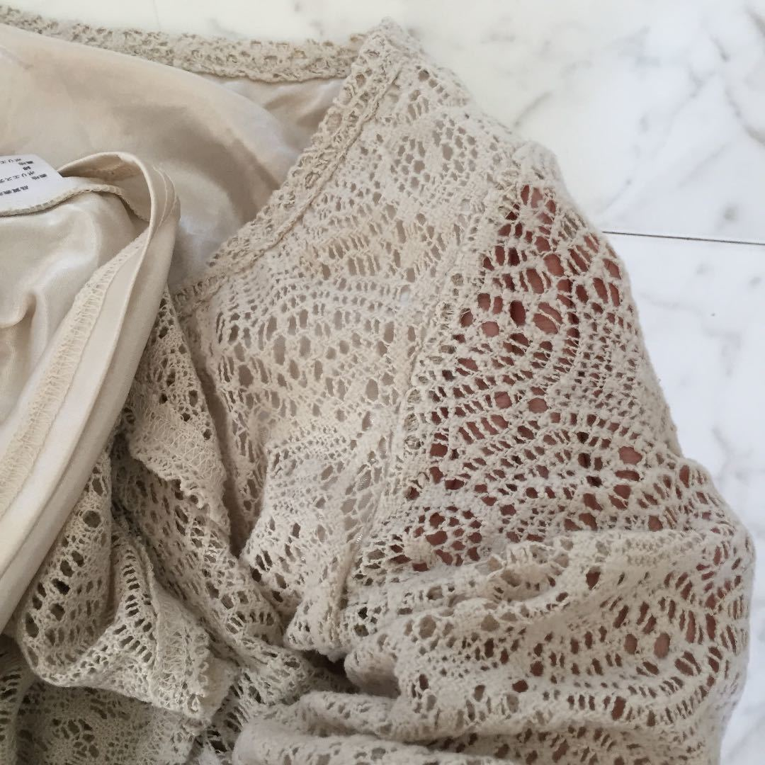 クロシェ かぎ針編み ワンピース ベージュ オフホワイト S_画像5