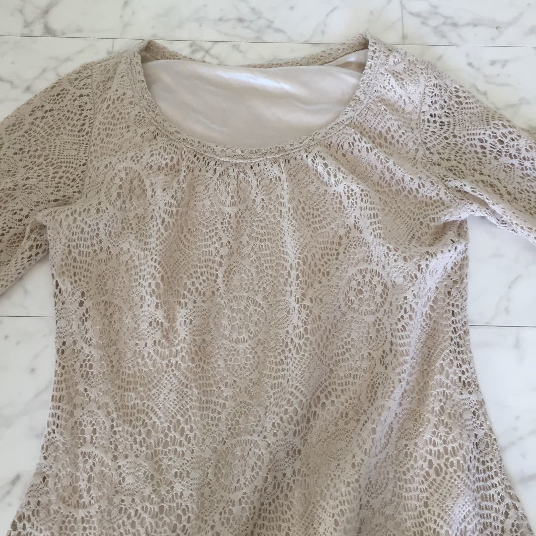 クロシェ かぎ針編み ワンピース ベージュ オフホワイト S_画像3