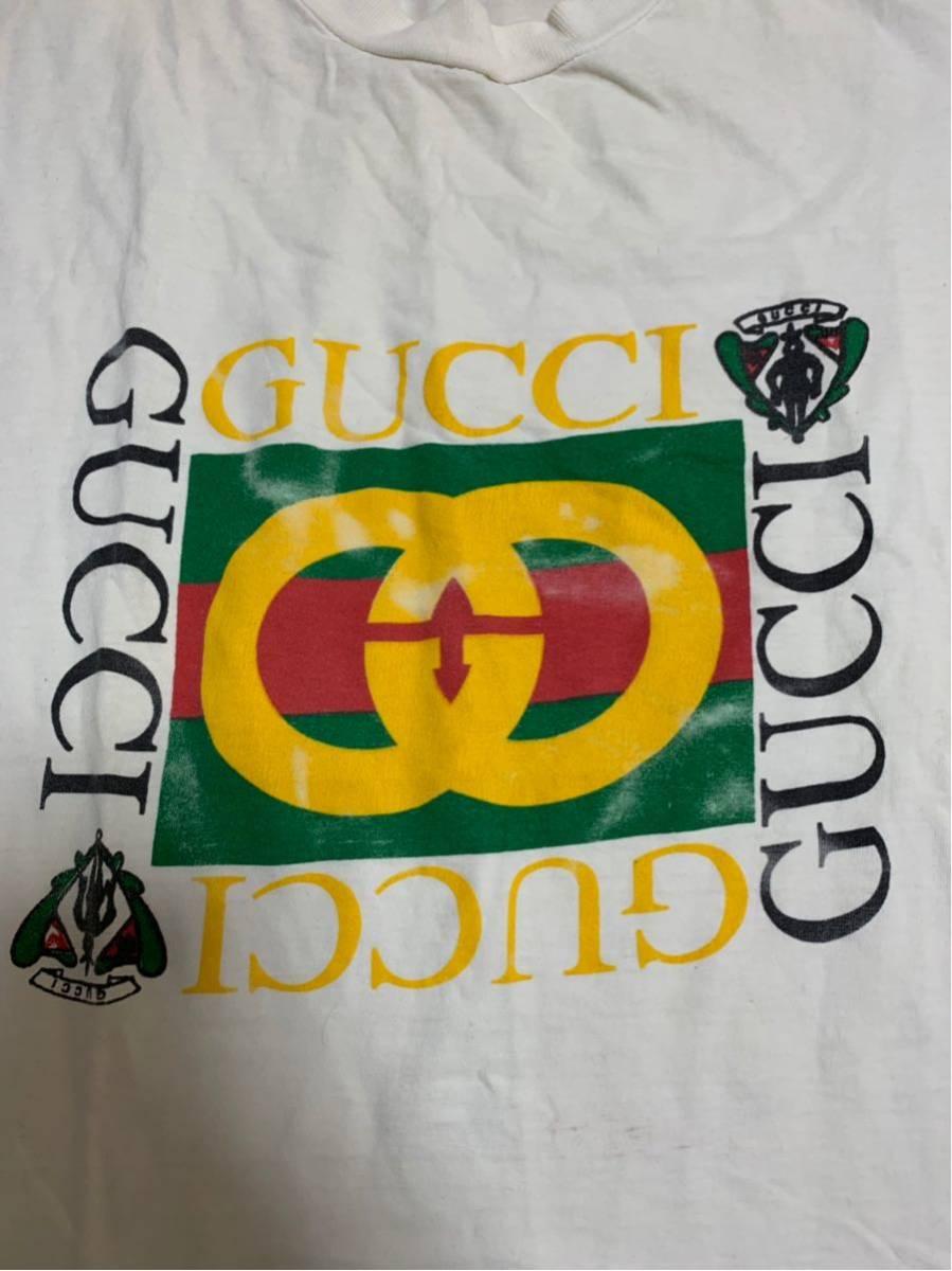 80's ビンテージ GUCCI グッチ Tシャツ オリジナル ヘインズ ブランド サンローラン YSL イブサンローラン _画像2