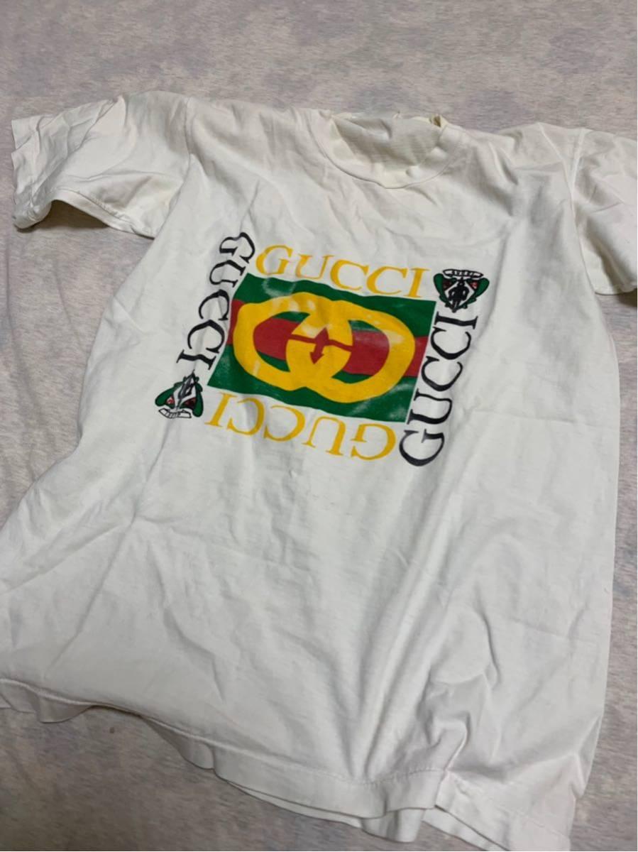 80's ビンテージ GUCCI グッチ Tシャツ オリジナル ヘインズ ブランド サンローラン YSL イブサンローラン _画像4