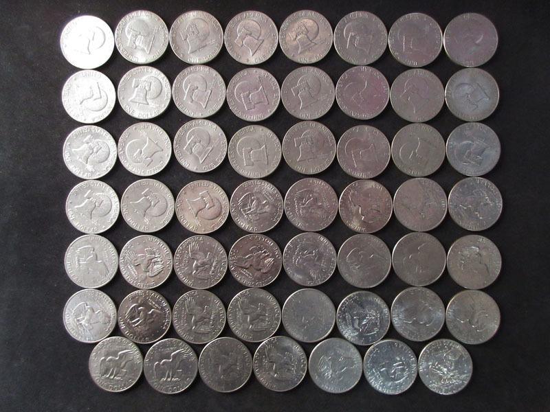 ☆C24 【1ドル硬貨】 アメリカ 55枚 まとめて 55ドル LIBERTY リバティ ベル イーグル コイン 外国銭 古銭 貨幣 硬貨 アンティーク_画像2