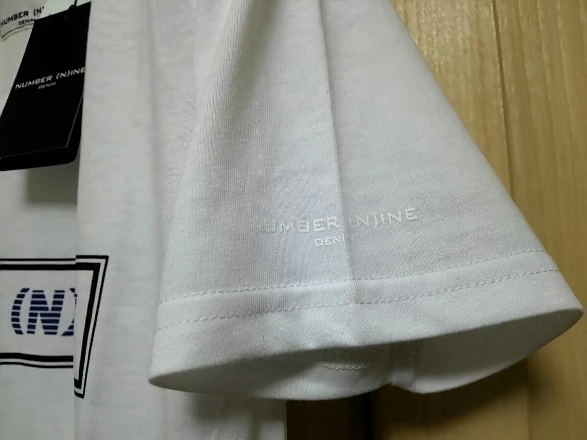 タグ付 NUMBER (N)INE DENIM メンズS ナンバーナイン ブランドボックスロゴ入り Vネック 半袖Tシャツ ホワイト 未使用新品 送料無料