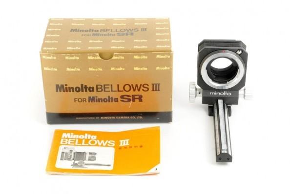 【極美品】Minolta BELLOWS III For ミノルタ SR/MC/MDマウント 接写、スライドのコピーなどに 蛇腹 ベローズ #3036_取扱説明書/元箱付
