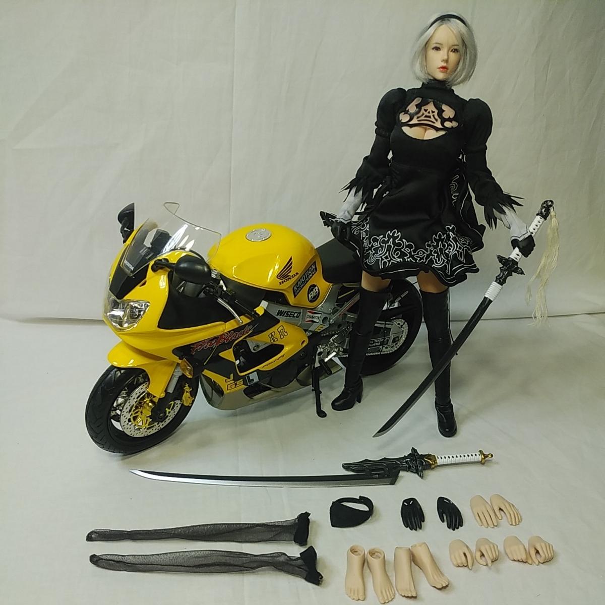 1/6ニーアオートマタヨルハ二号ヘッド衣装ファイセンtbリーグ製シームレスシリコンアクションフィギュアHondaCBR1000RRバイクのフルセット_画像2