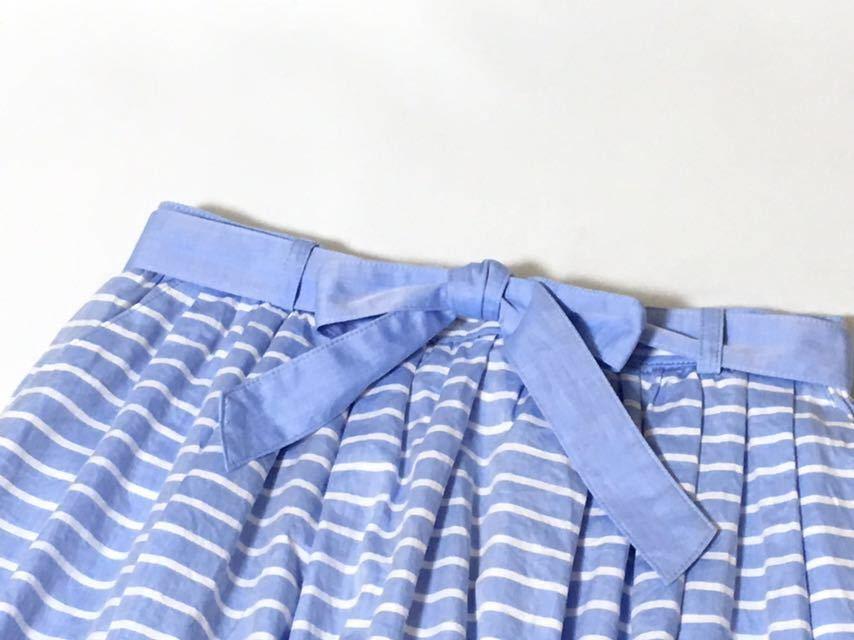 美品 バーバリーブルーレーベル 可愛いボーダー柄フレアスカート 38 送料185円♪_画像5
