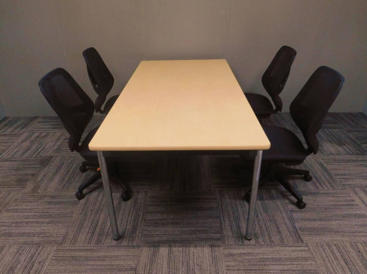 ◆自社便対応地域あり◆管738◆アイコ製◆ミーティング会議テーブル幅1800mmOA会議チェアー4脚 計5点セット