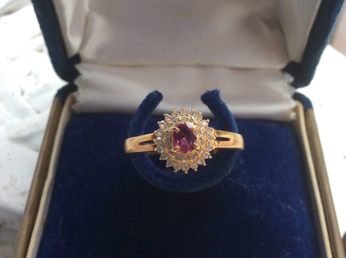 18金 指輪 ルビー ダイヤ リング 貴金属 宝石 K18 0.23 0.17 刻印有り 重さ2.5g ルビー0.23カラット ダイヤ0.17カラット 指輪サイズ14
