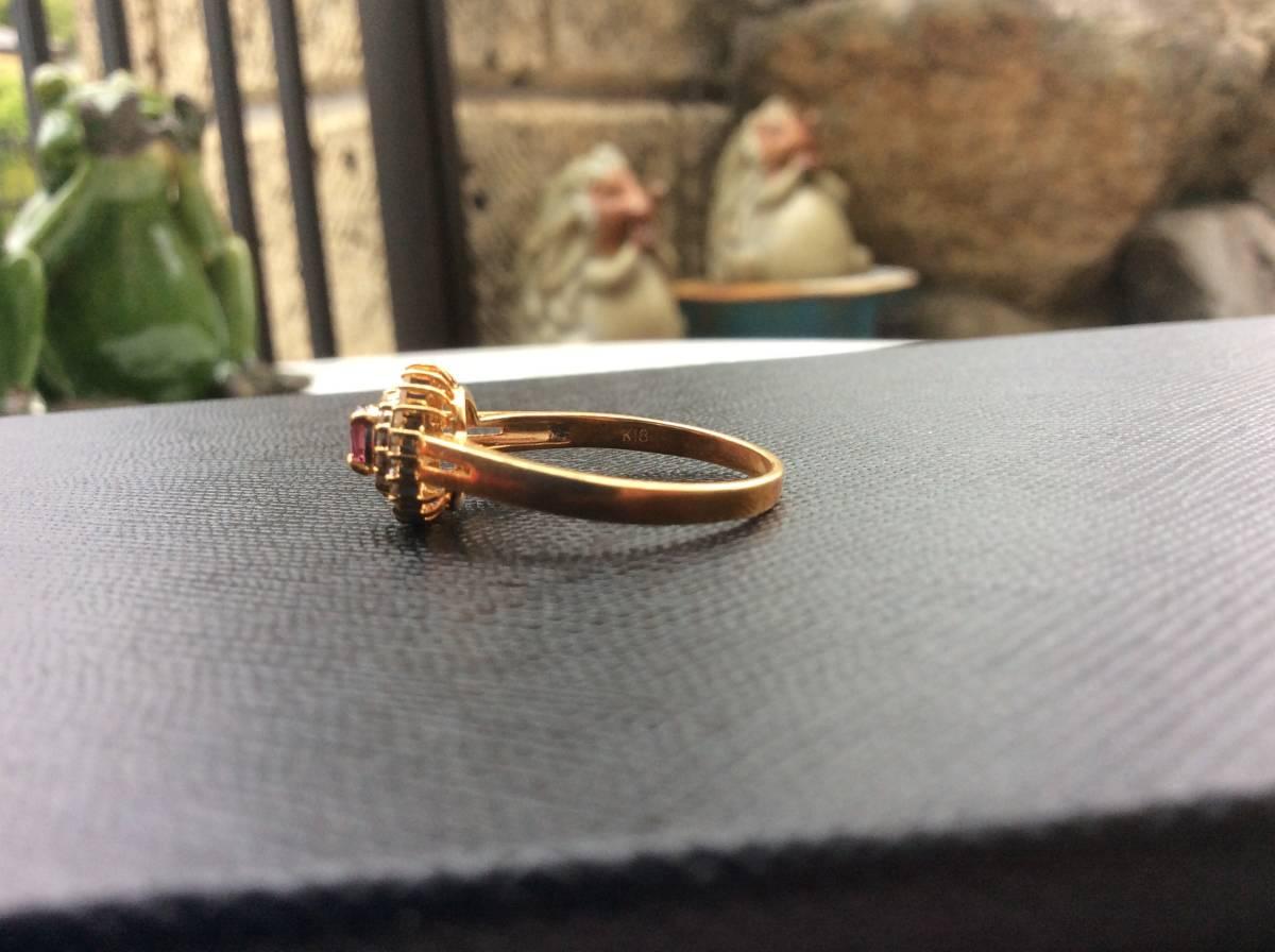 18金 指輪 ルビー ダイヤ リング 貴金属 宝石 K18 0.23 0.17 刻印有り 重さ2.5g ルビー0.23カラット ダイヤ0.17カラット 指輪サイズ14_画像4