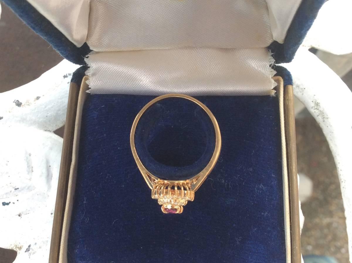 18金 指輪 ルビー ダイヤ リング 貴金属 宝石 K18 0.23 0.17 刻印有り 重さ2.5g ルビー0.23カラット ダイヤ0.17カラット 指輪サイズ14_画像2