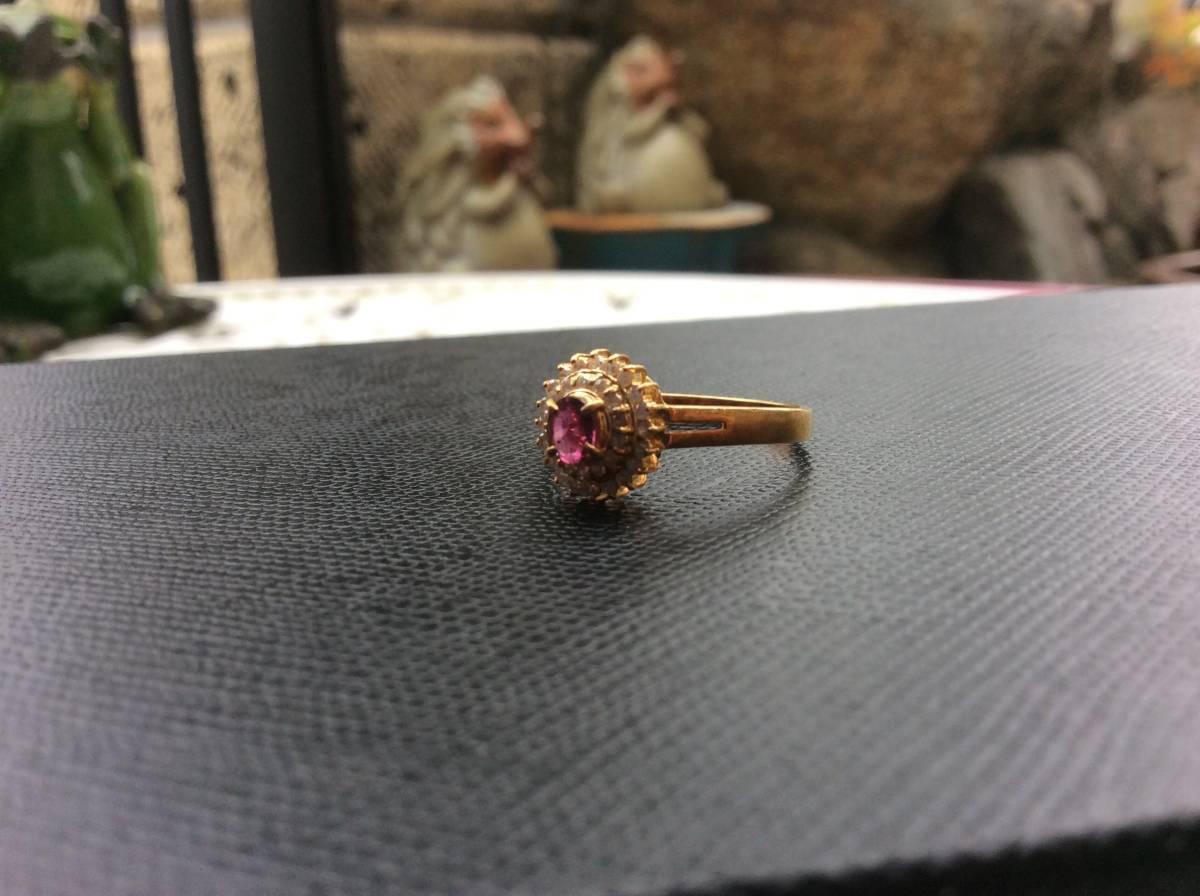 18金 指輪 ルビー ダイヤ リング 貴金属 宝石 K18 0.23 0.17 刻印有り 重さ2.5g ルビー0.23カラット ダイヤ0.17カラット 指輪サイズ14_画像6