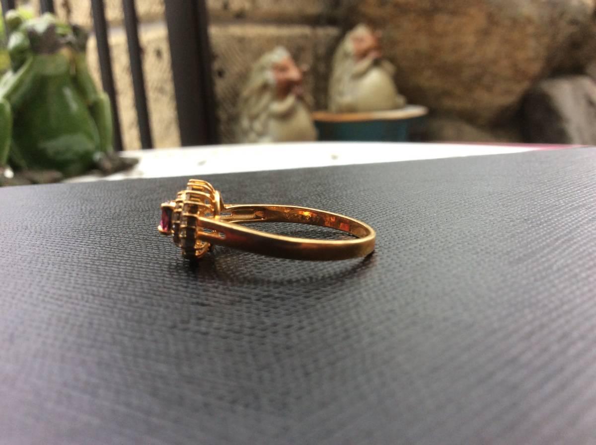 18金 指輪 ルビー ダイヤ リング 貴金属 宝石 K18 0.23 0.17 刻印有り 重さ2.5g ルビー0.23カラット ダイヤ0.17カラット 指輪サイズ14_画像5