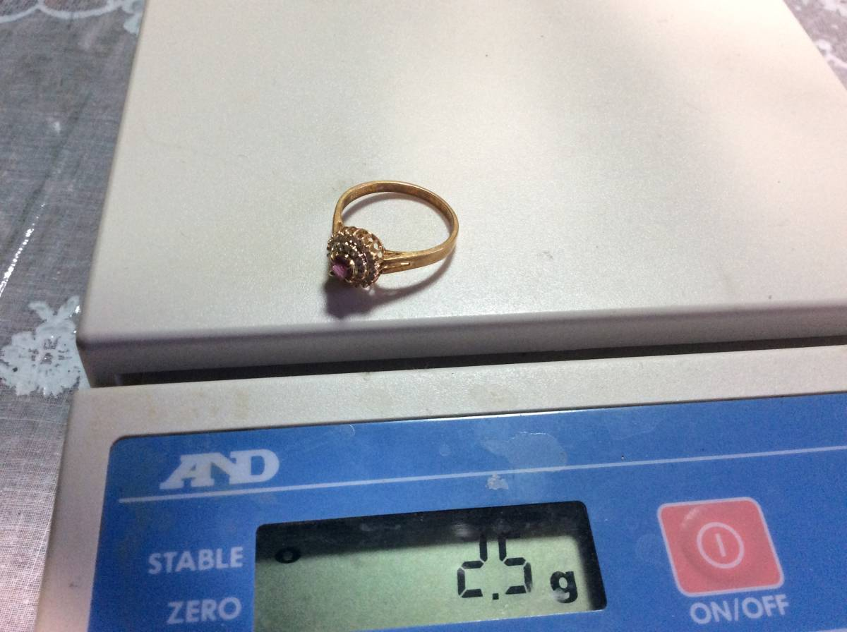 18金 指輪 ルビー ダイヤ リング 貴金属 宝石 K18 0.23 0.17 刻印有り 重さ2.5g ルビー0.23カラット ダイヤ0.17カラット 指輪サイズ14_画像9