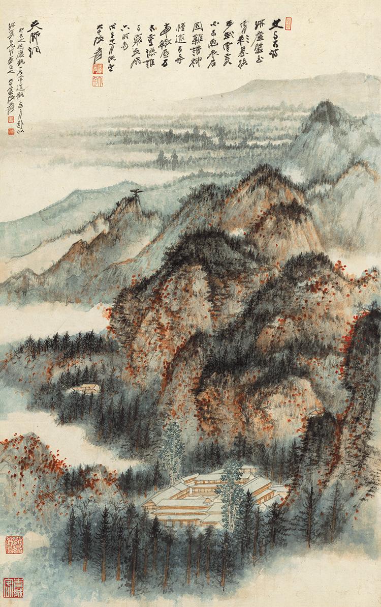 張大千『天師殿』中国書画家 美術品 掛軸 掛け軸 希少品 賞物 収蔵品 サイズ:69cm x 110cm