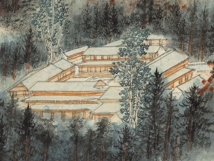 張大千『天師殿』中国書画家 美術品 掛軸 掛け軸 希少品 賞物 収蔵品 サイズ:69cm x 110cm_画像5