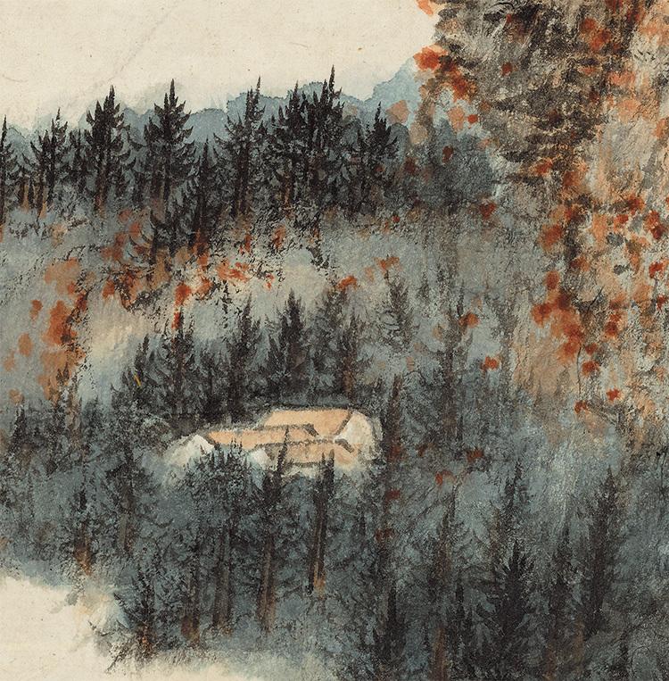 張大千『天師殿』中国書画家 美術品 掛軸 掛け軸 希少品 賞物 収蔵品 サイズ:69cm x 110cm_画像4