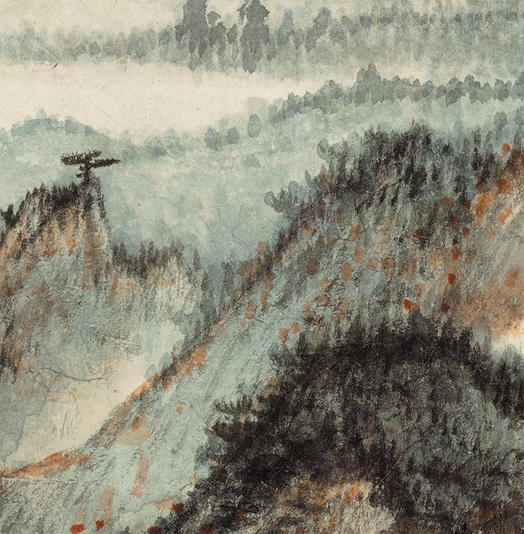 張大千『天師殿』中国書画家 美術品 掛軸 掛け軸 希少品 賞物 収蔵品 サイズ:69cm x 110cm_画像6