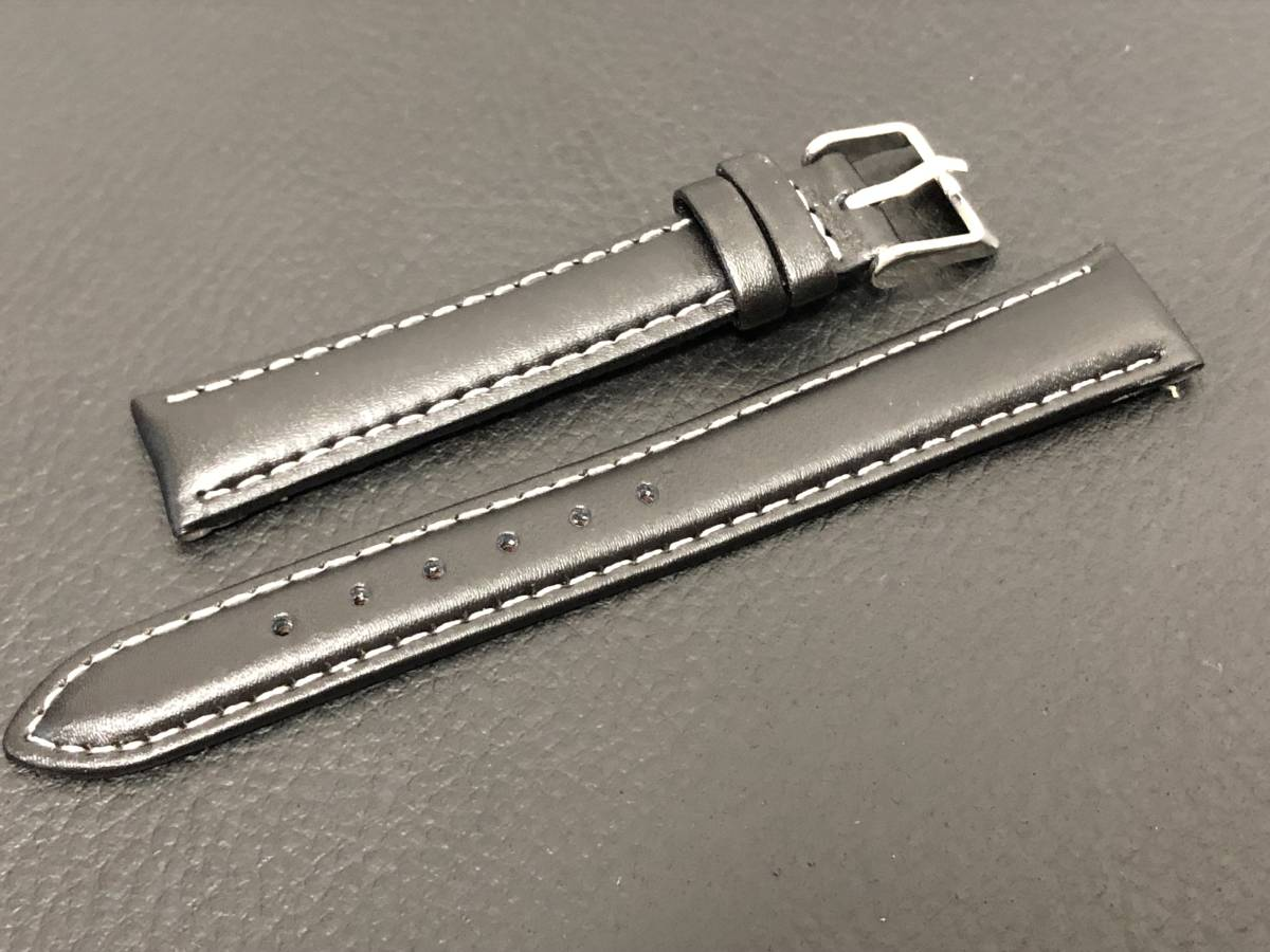 [3031605] 腕時計用 革ベルト レザーベルト 16mm ブラック 高品質 送料62円 新品未使用品