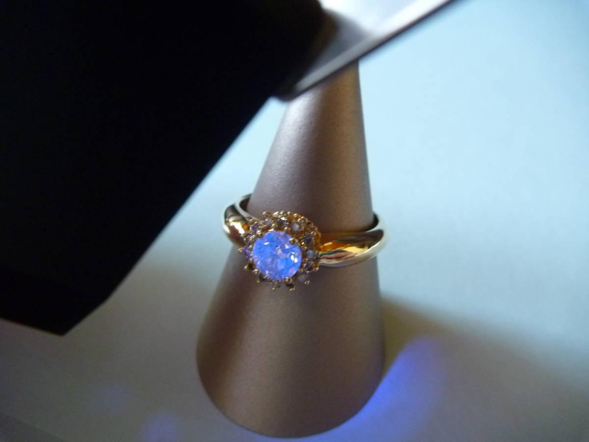 【送料込】GSTV K18 18金 イエローゴールド 指輪 リング 18.5号 ブラウンダイヤモンド 主石0.75ct以上 メレ0.25ct 合計1.00ct 蛍光性ブルー_画像1