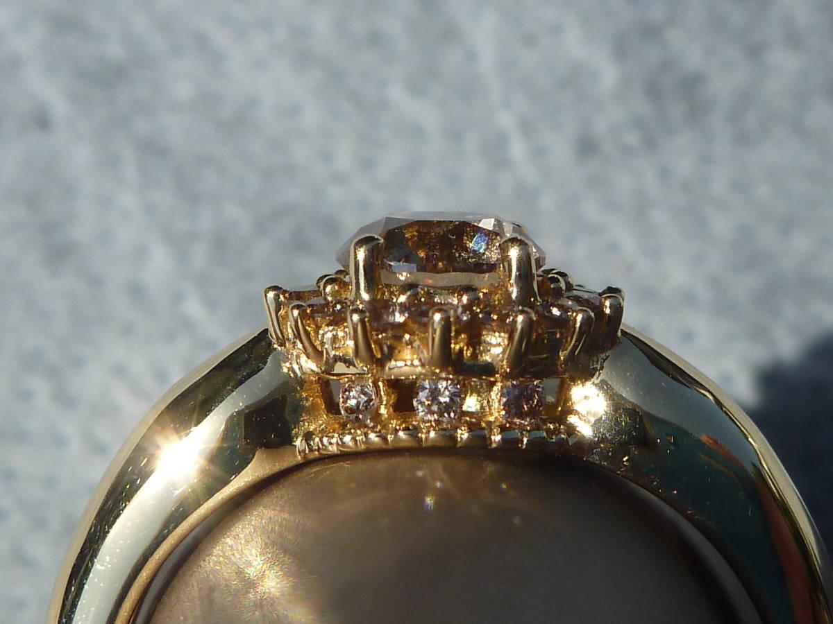 【送料込】GSTV K18 18金 イエローゴールド 指輪 リング 18.5号 ブラウンダイヤモンド 主石0.75ct以上 メレ0.25ct 合計1.00ct 蛍光性ブルー_画像4