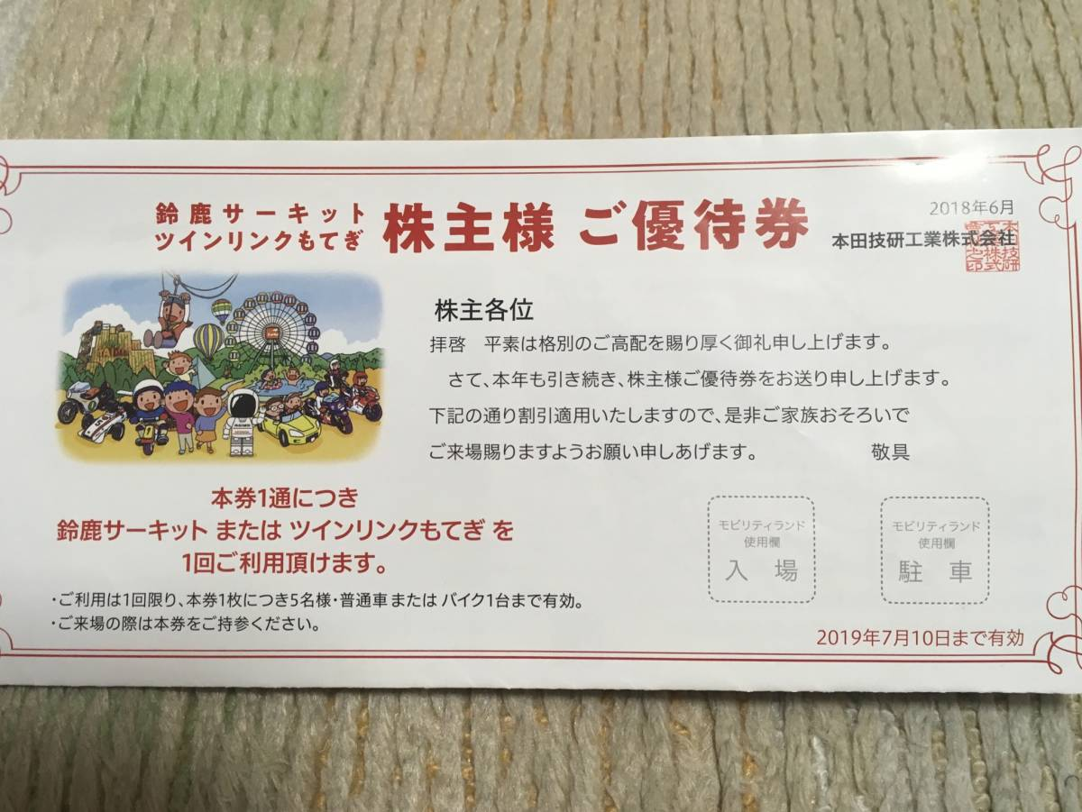本田技研 ホンダ 株主優待券鈴鹿サーキット☆ツインリンクもてぎ 送料無料