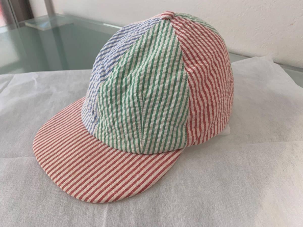 爽やかで愛らしい キャップ トムブラウン 国内正規美品 シアサッカー クレイジーストライプ 6パネル 帽子 アポロ トリコロール 春夏に最適