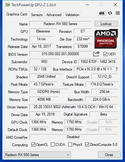 MSI Radeon RX470(RX580化) 4G ジャンク_画像5