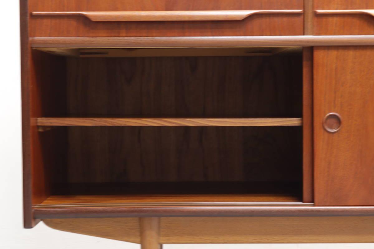 ◆英国 イギリス チーク材 サイドボード 収納 キャビネット チェスト/北欧シェルフ食器棚本棚飾り棚レトロアンティーク/IDT30118◆_画像6