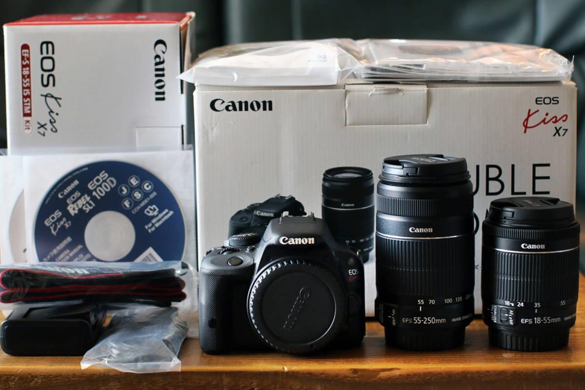 ●ショット数1200回~大変綺麗です●キャノン Canon EOS Kiss X7 ダブルズームキット EF-S18-55 F3.5-5.6 IS STMとEF-S55-250 F4-5.6 IS II