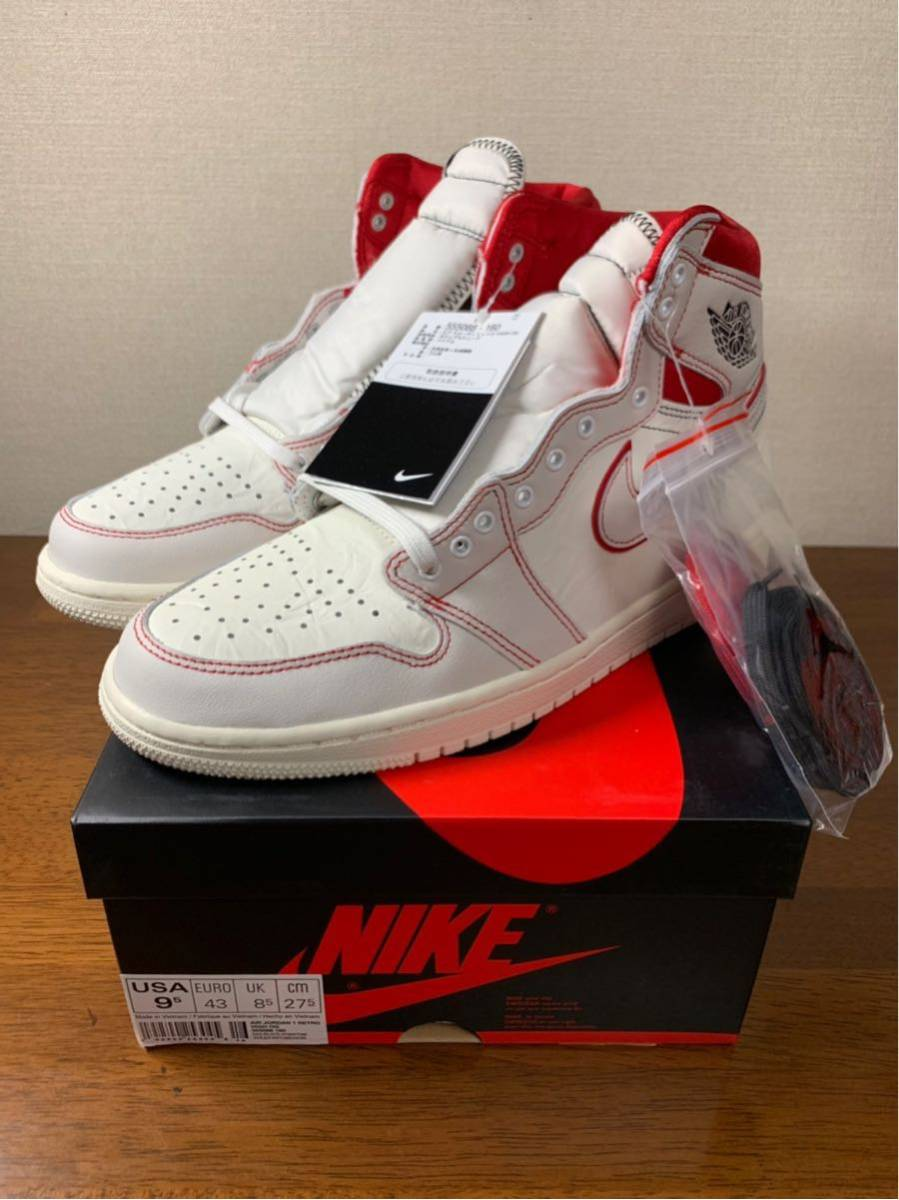 27.5cm AIR JORDAN RETRO HIGH OG PHANTOM SAIL / UNIVERSITY RED エアジョーダン 1 ファントム AJ1 US9.5