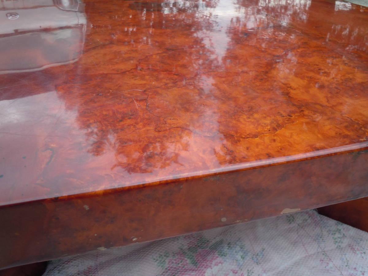 中古 最高級座卓 天然無垢一枚板 花梨 杢目有り ちゃぶ台 テーブル 【W152 x D90 x H33】 75kg_画像3