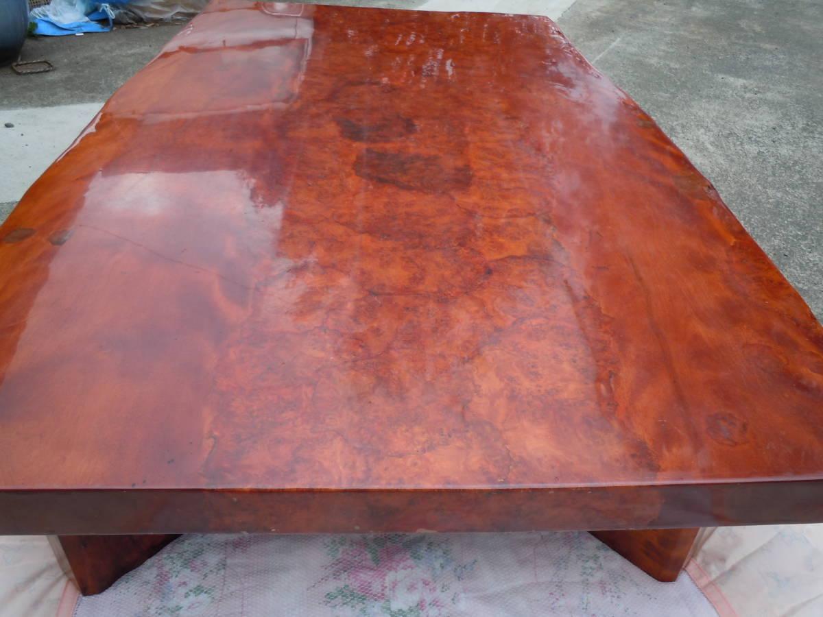 中古 最高級座卓 天然無垢一枚板 花梨 杢目有り ちゃぶ台 テーブル 【W152 x D90 x H33】 75kg_画像2
