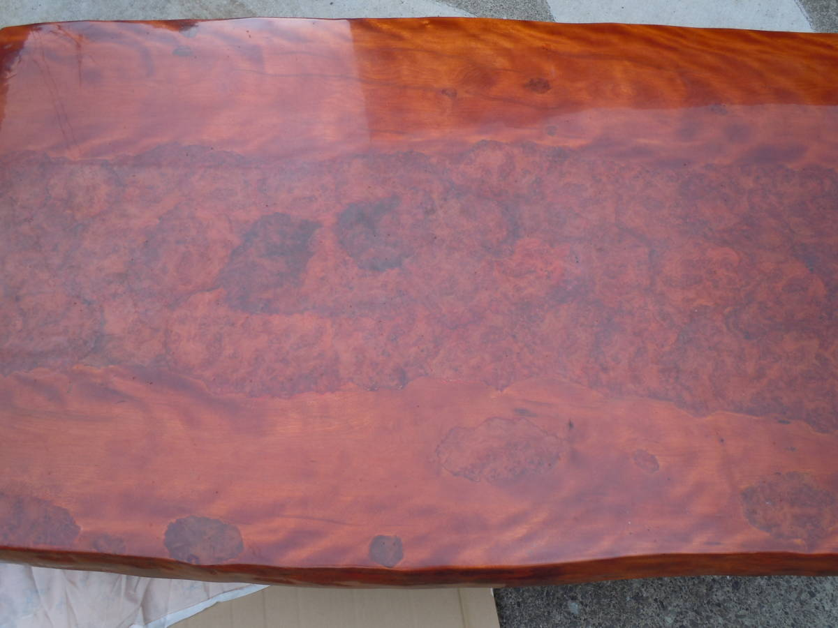 中古 最高級座卓 天然無垢一枚板 花梨 杢目有り ちゃぶ台 テーブル 【W152 x D90 x H33】 75kg_画像8