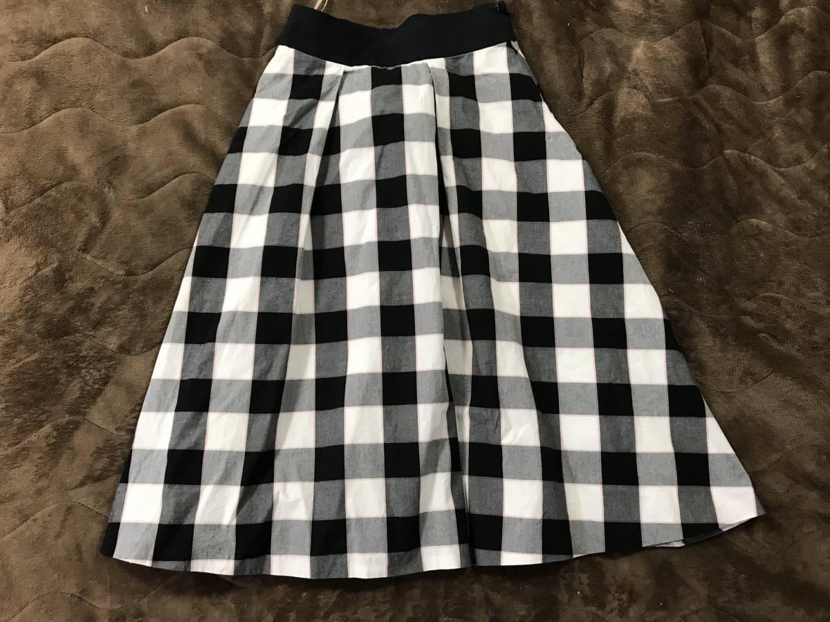 ブルーレーベル クレストブリッジ 美品 36 ロング スカート ミモレ 黒 チェック ゆったり バーバリー_画像3