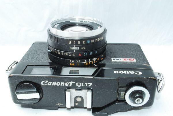 動作品★人気のcanonカメラ★キャノン Canonet QL17 G-III 40mm F1.7 Black 黒 レンジファインダー_画像4