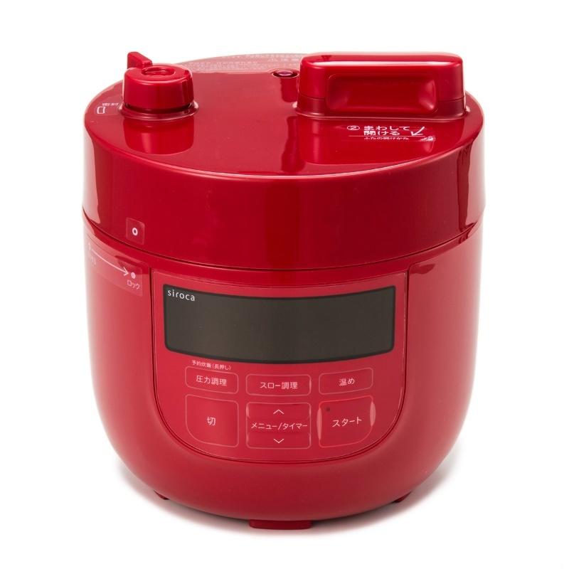 siroca コンパクト電気圧力鍋 スロー調理機能付 qvc 新品未使用 16cm用 強化ガラス蓋 おまけつき SP-D131 レッド 圧力 無水 蒸し 炊飯_画像1