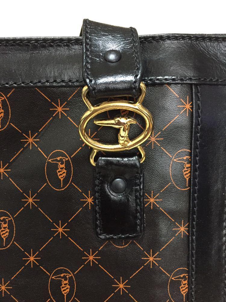 トラサルディ ショルダートートバッグ バッグ 鞄 レザー ブラック アンティーク ヴィンテージ _画像5