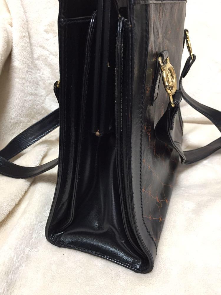 トラサルディ ショルダートートバッグ バッグ 鞄 レザー ブラック アンティーク ヴィンテージ _画像3