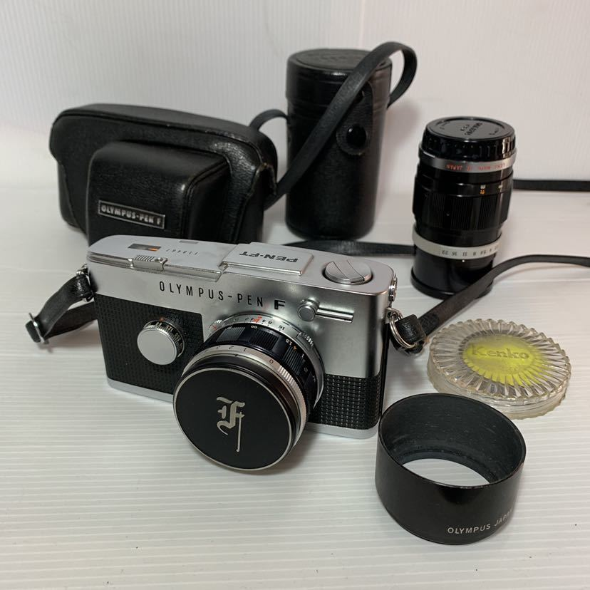 美品レンズセットFTオリンパスOLYMPUS-PEN Fシルバー & Olympus F.Zuiko Auto-S 38mm F1.8 auto-t 100mmケース付カメラ