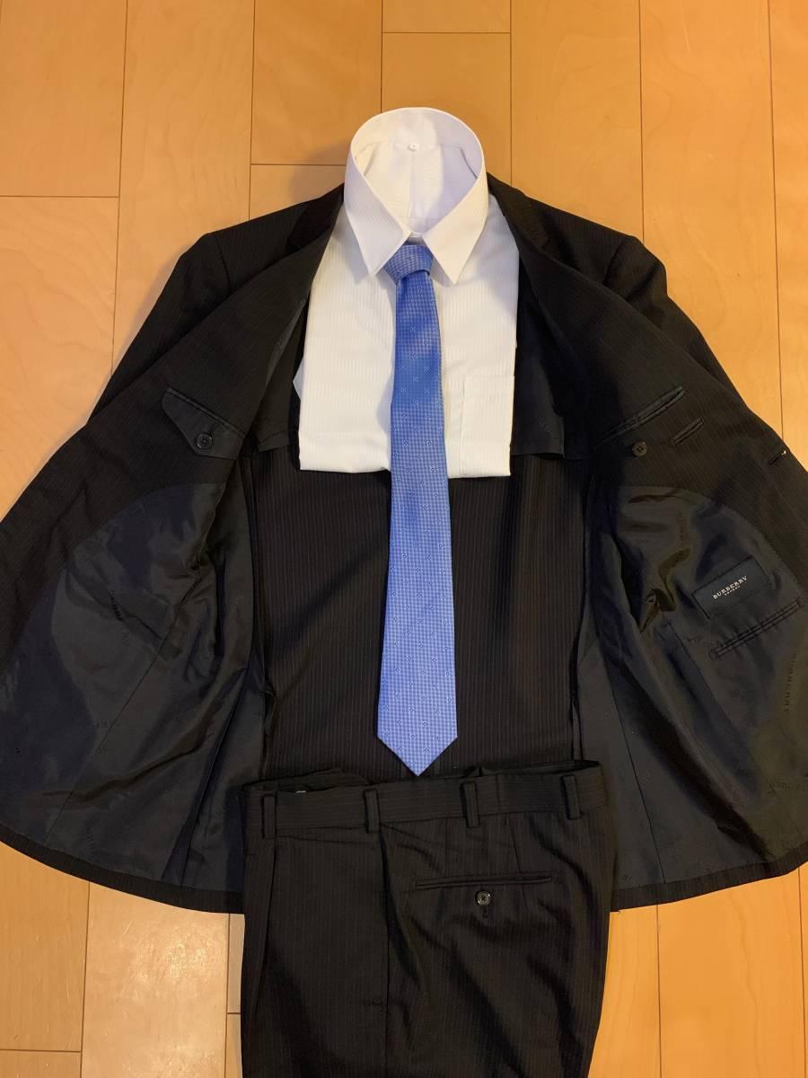 高級【シルク混】バーバリー ロンドン スーツ AB6 (L~XL程度) セットアップ 2B メンズ 黒 ストライプ ブラック BURBERRY LONDON 背抜き _画像4