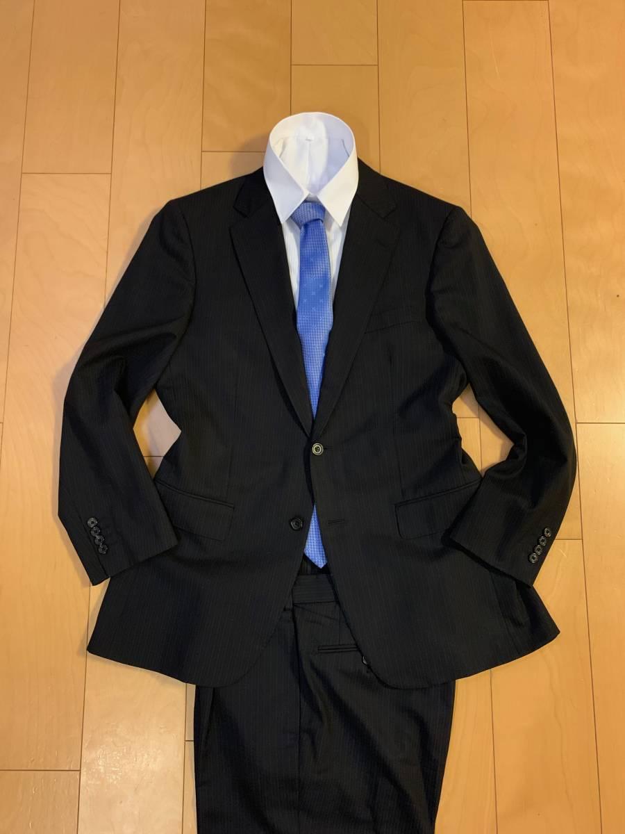 高級【シルク混】バーバリー ロンドン スーツ AB6 (L~XL程度) セットアップ 2B メンズ 黒 ストライプ ブラック BURBERRY LONDON 背抜き