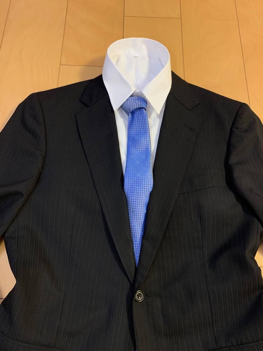 高級【シルク混】バーバリー ロンドン スーツ AB6 (L~XL程度) セットアップ 2B メンズ 黒 ストライプ ブラック BURBERRY LONDON 背抜き _画像2