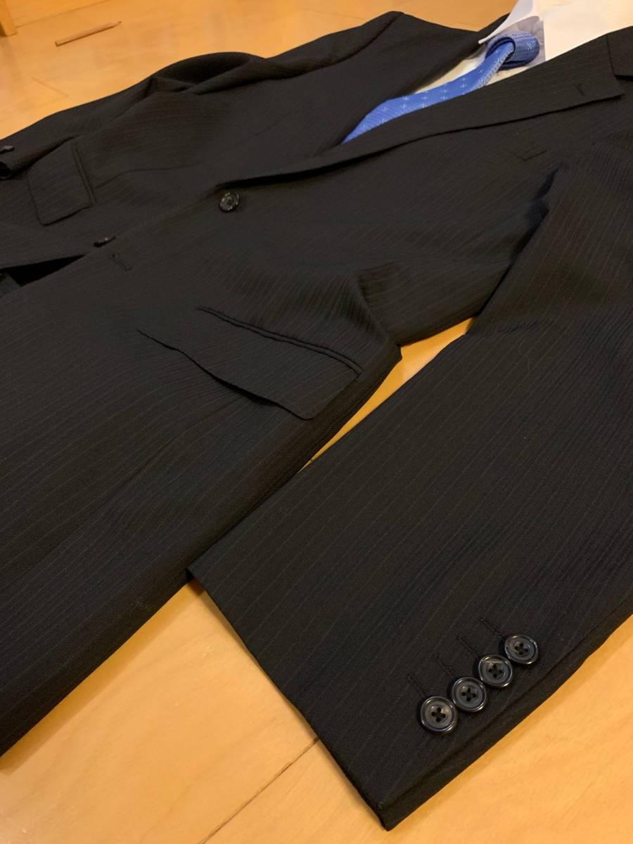 高級【シルク混】バーバリー ロンドン スーツ AB6 (L~XL程度) セットアップ 2B メンズ 黒 ストライプ ブラック BURBERRY LONDON 背抜き _画像5