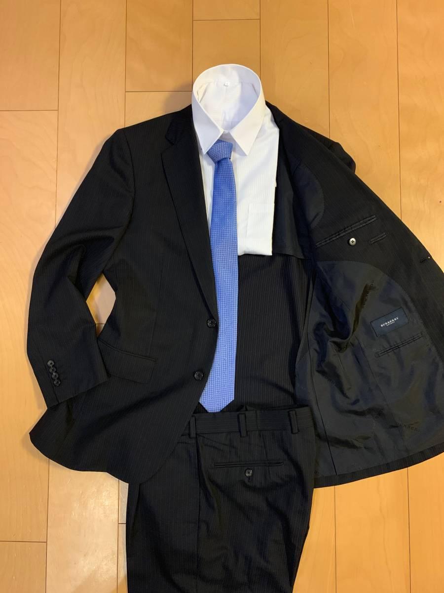 高級【シルク混】バーバリー ロンドン スーツ AB6 (L~XL程度) セットアップ 2B メンズ 黒 ストライプ ブラック BURBERRY LONDON 背抜き _画像3