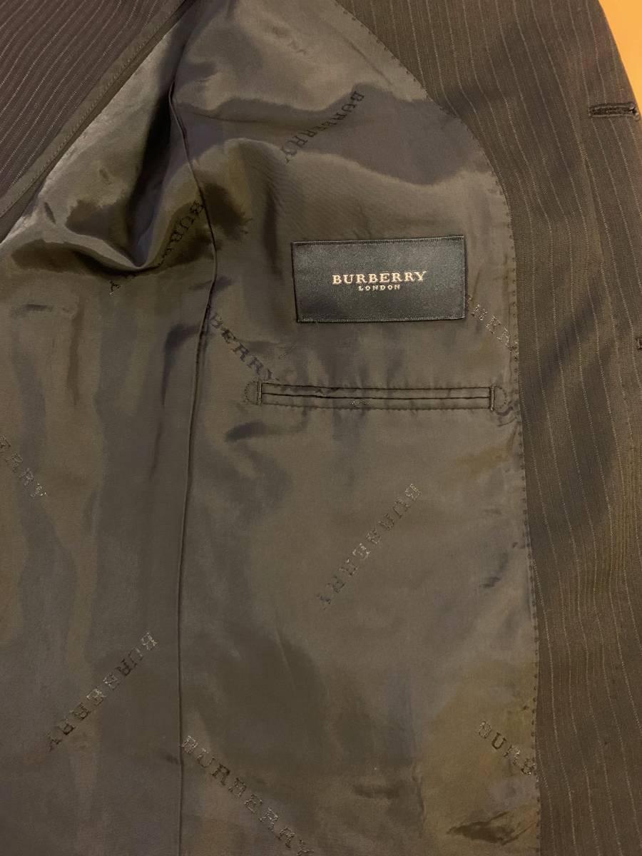 高級【シルク混】バーバリー ロンドン スーツ AB6 (L~XL程度) セットアップ 2B メンズ 黒 ストライプ ブラック BURBERRY LONDON 背抜き _画像6