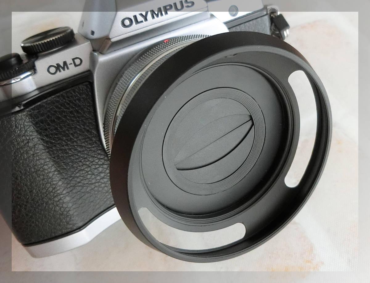【新品/送料185円】OLYMPAS 黒 フード付き 自動開閉式レンズキャップ LC-37C-20 オリンパス E-M10 E-M5 E-M1 レンズ キャップ ブラック JJC_画像1