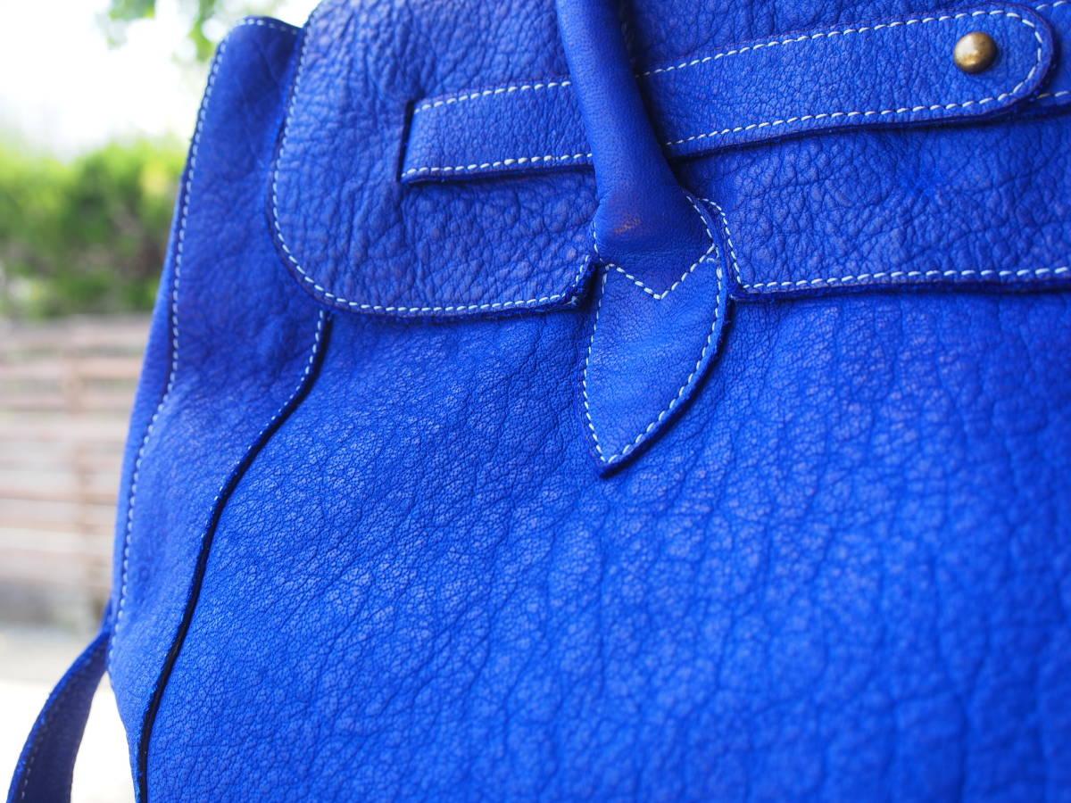 Cantara 本バッファロー革 レザーボストンバッグ トートバッグ イタリア製(染料仕上げ)ボストン 青 カンターラブルー_画像3